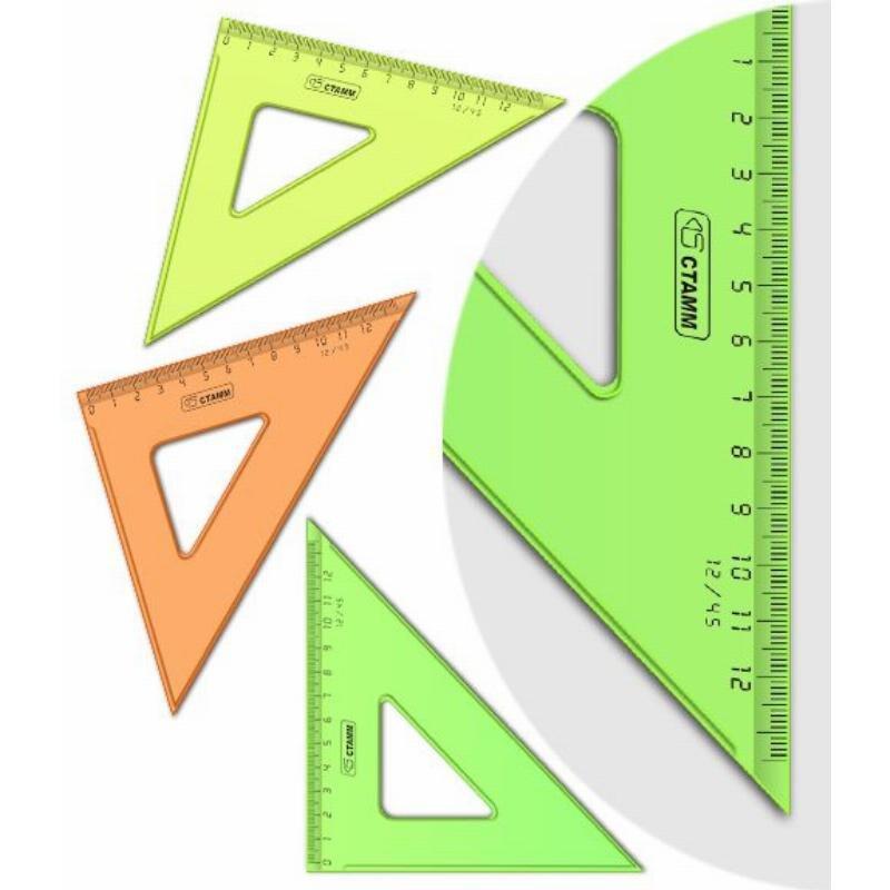 Треугольник 12см 45град Стамм прозрачный флуоресцентный