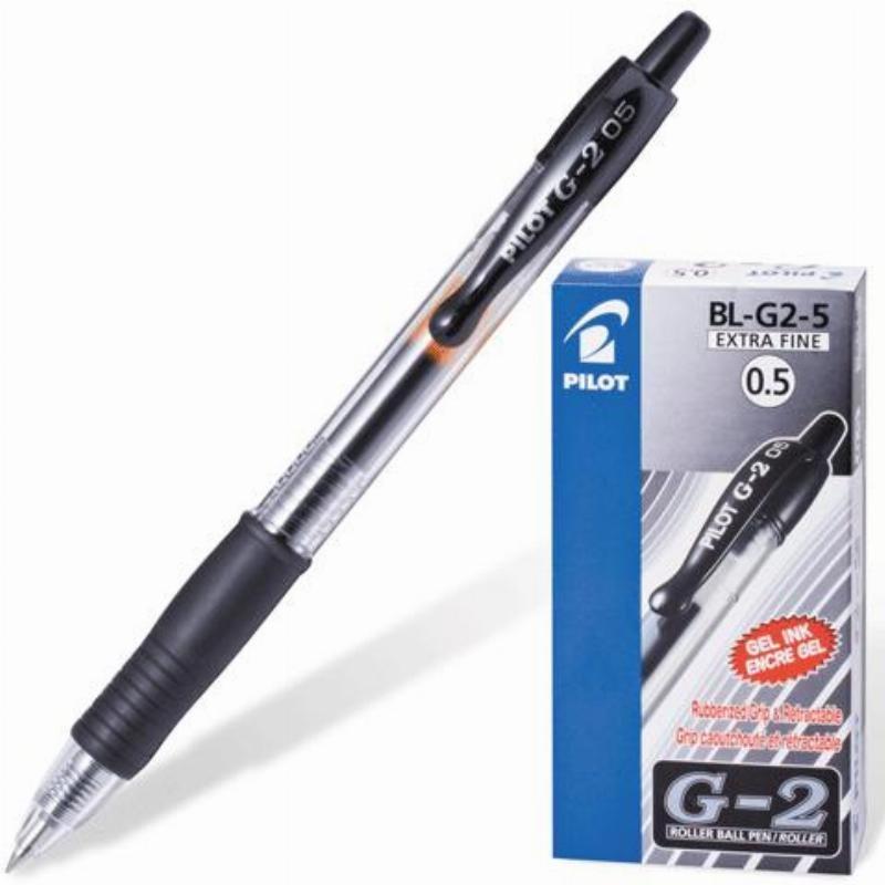 Ручка гелевая автомат Pilot 0,5мм резиновый держатель прозрачный корпус черная