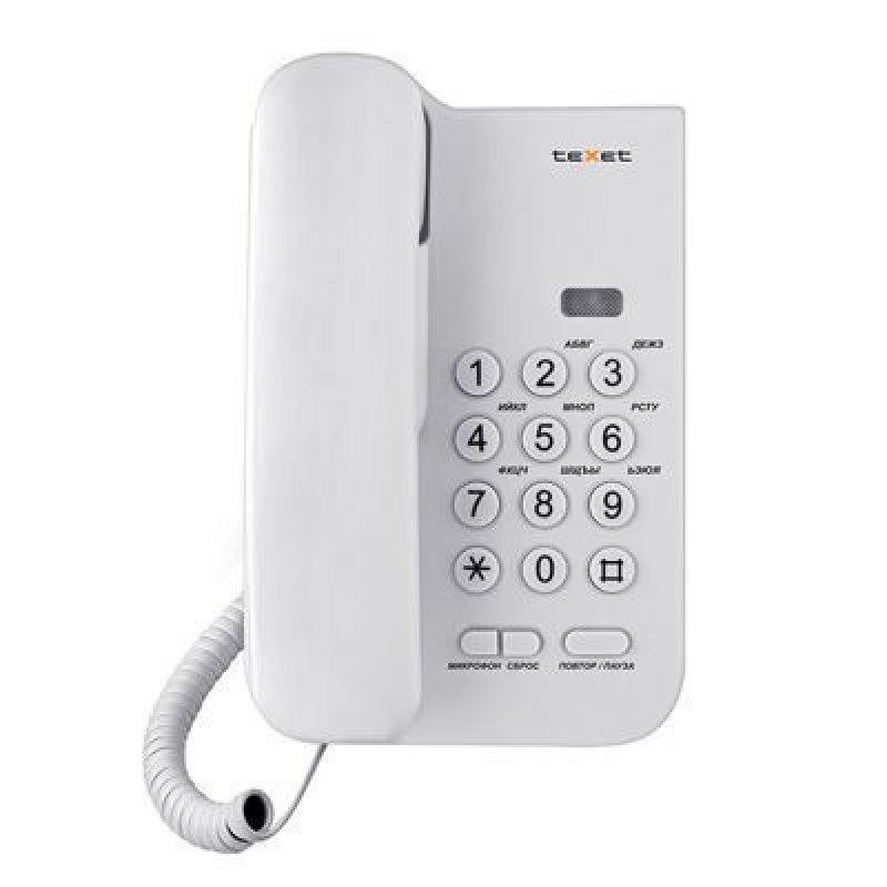 Телефон Texet  TX-212 белый повторный набор тональный/импульсный режим