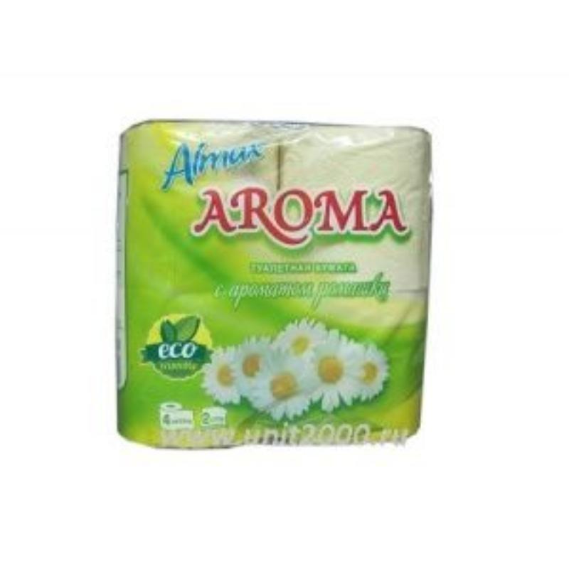 Бумага туалетная Almax Aroma Eco 2-сл 4шт/уп ромашка жёлтый