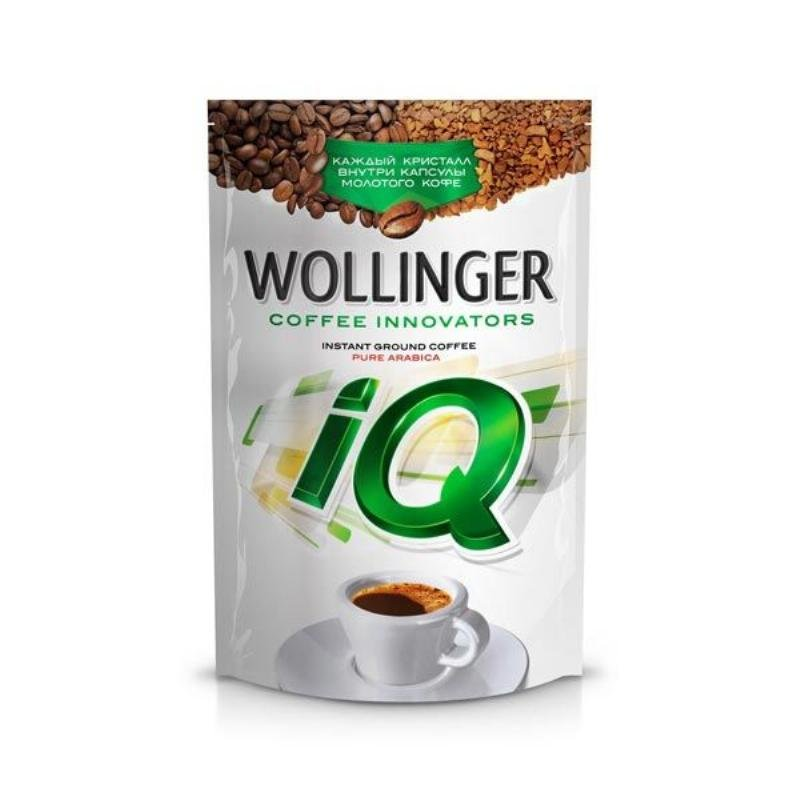 Кофе Wollinger IQ растворимый 75г с добавлением молотого вакуумная упаковка