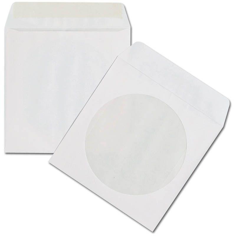 Конверт CD/DVD 1 диск бумажный белый окно