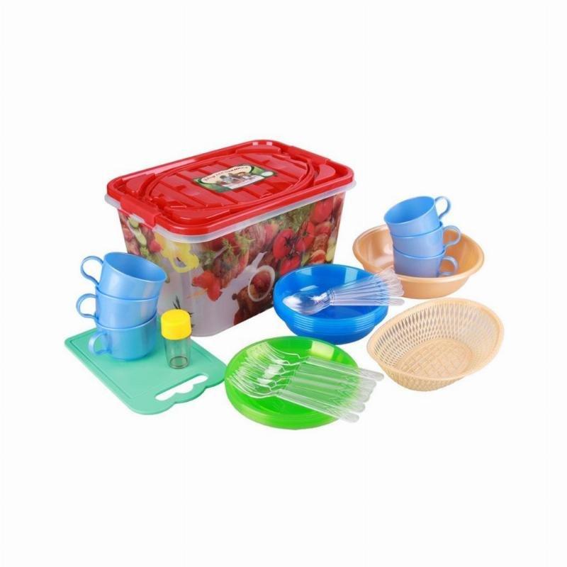 Набор для пикника 15л Гурман 6 персон пластик