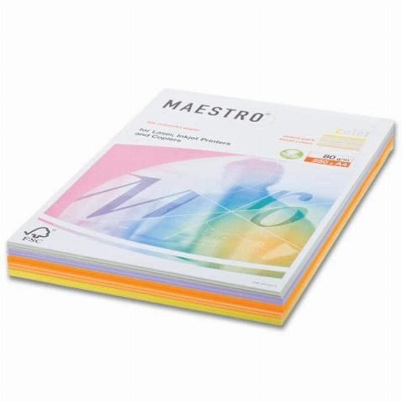 Бумага IQ/Maestro Color А4 80г/м2 250л микс (5цв.х50л) умеренный интенсив