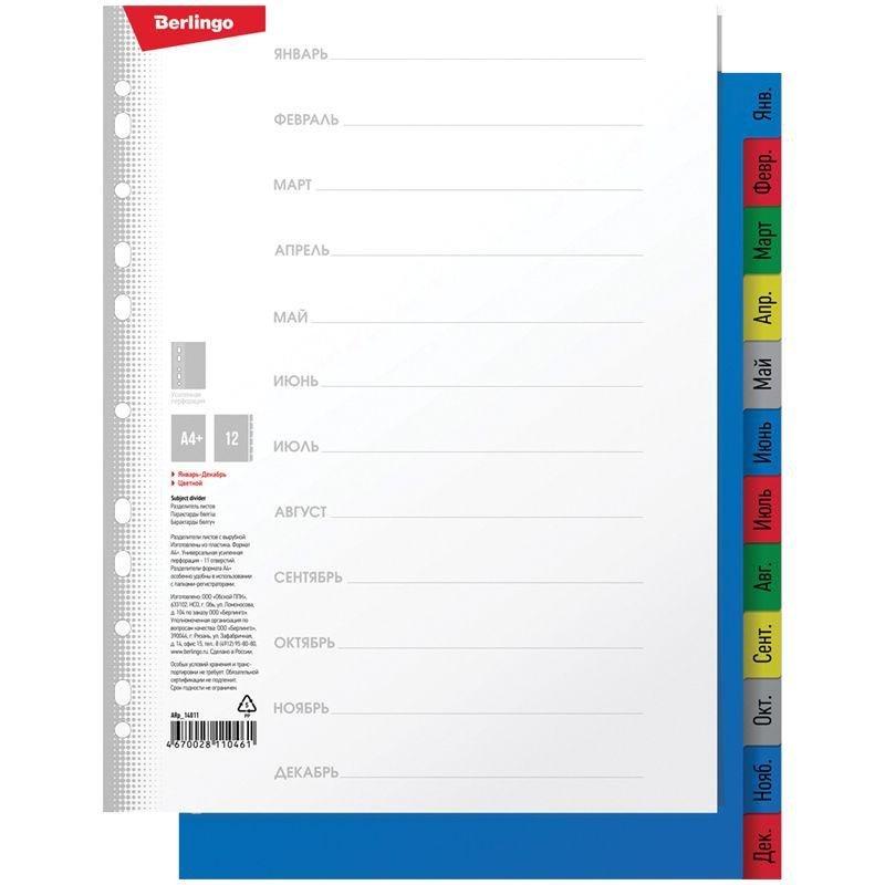 Разделитель пластиковый Berlingo А4 по месяцам Январь-Декабрь цветной