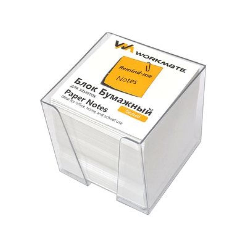 Блок для записей 90х90х90мм Workmate белый в прозрачном пластбоксе