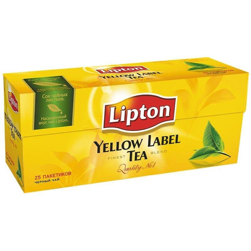 Чай Lipton Yellow label 25шт в пакетиках черный