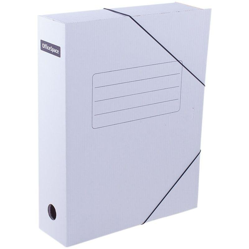 Короб архивный 75мм 700л 2 резинки микрогофрокартон белый 320х250х75мм
