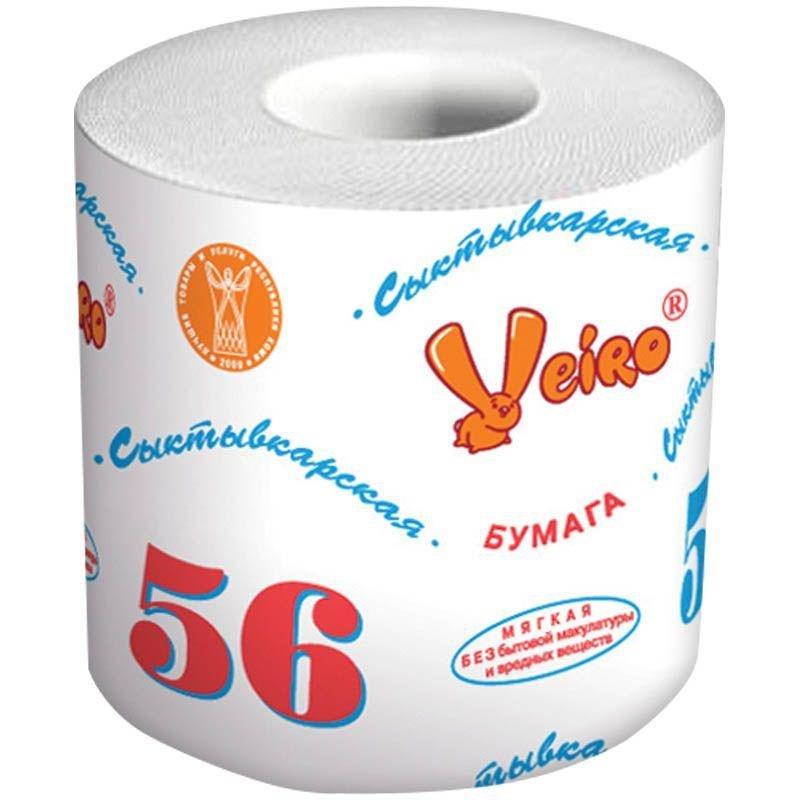 Бумага туалетная Veiro Сыктывкарская 1-сл с втулкой 56м