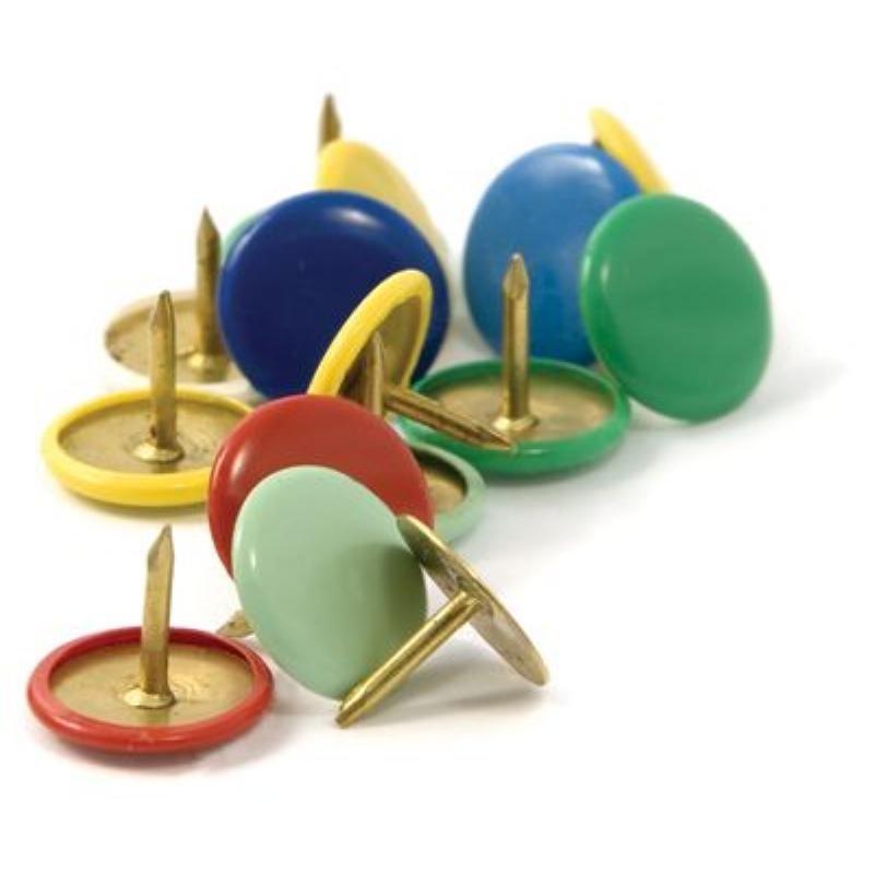 Кнопки канцелярские гвоздики 10мм 100шт/уп цветные