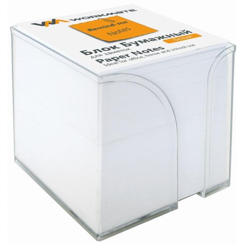 Блок для записей 90х90х45мм Workmate белый в прозрачном пластбоксе