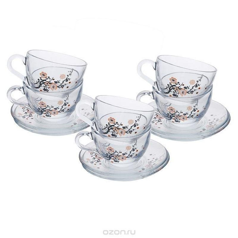 Набор чайный 220мл Бэйсик Сакура 12пр Pasabahce стекло
