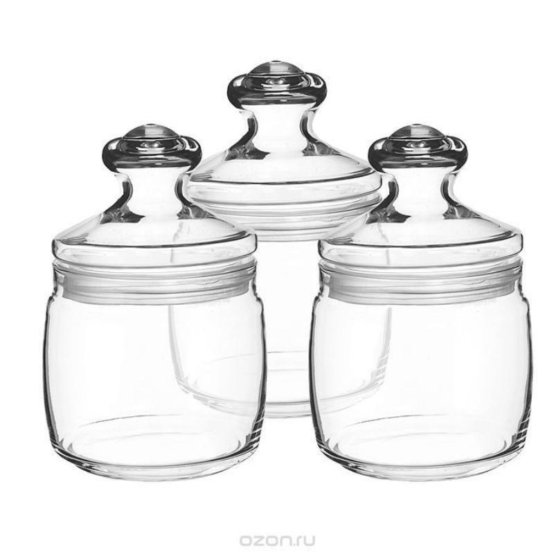 Набор банок 0,65л Чешни с крышкой стекло 3шт