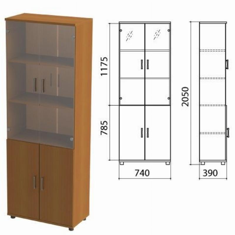 Шкаф закрытый Монолит 740х390х2050мм со стеклом комплект орех