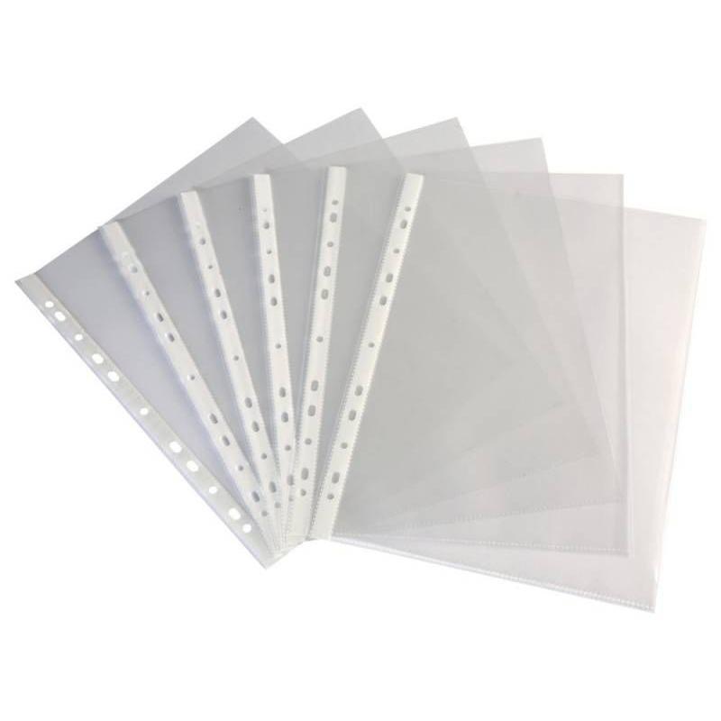 Папка-файл прозрачная с перфорацией А4+ Бюрократ  25шт/уп 30мкм Премиум глянец