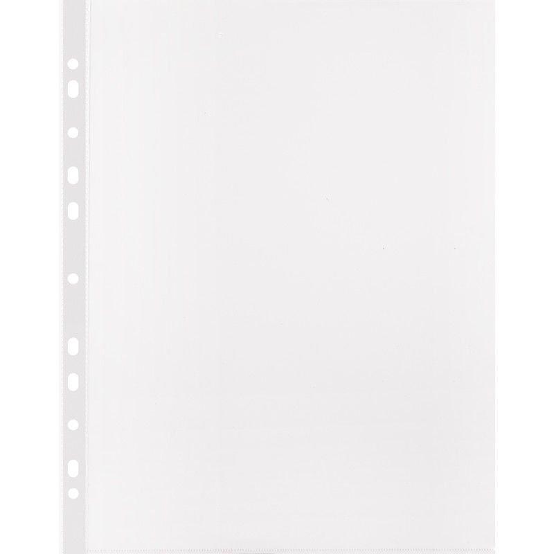 Папка-файл прозрачная с перфорацией А4+ Бюрократ 100шт/уп 20мкм глянец