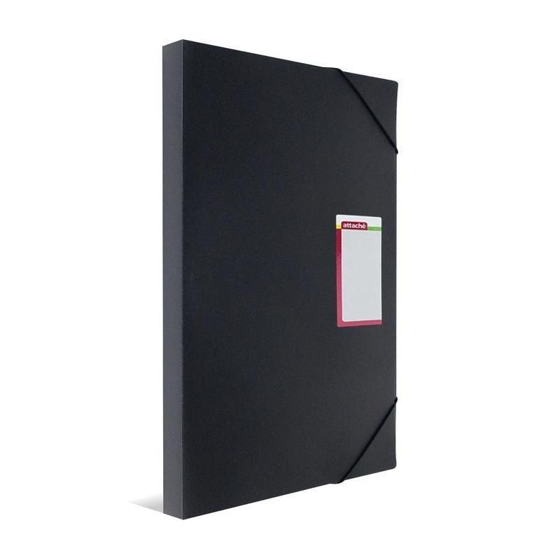 Папка-короб А3 на резинках 30 мм Attache 0,8мм черная