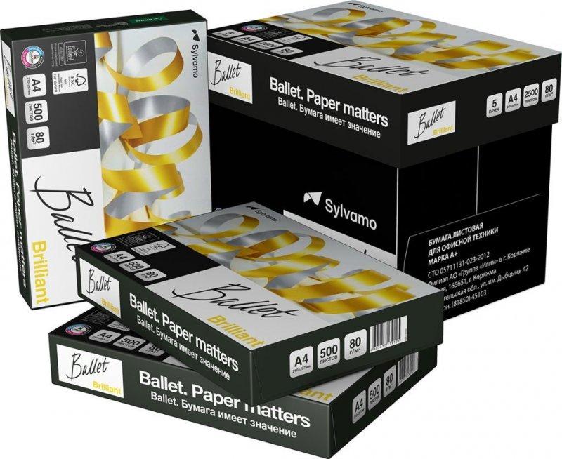Бумага Ballet Brilliant А4 80г/м2 168% ISO 500л