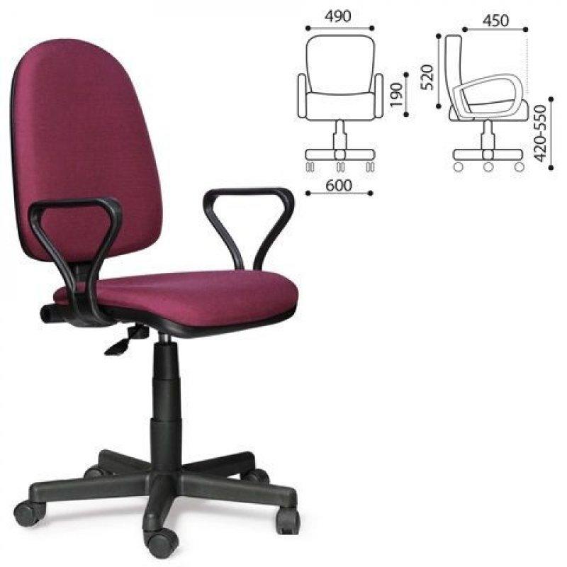 Кресло для оператора Престиж с подлокотниками ткань бордовое