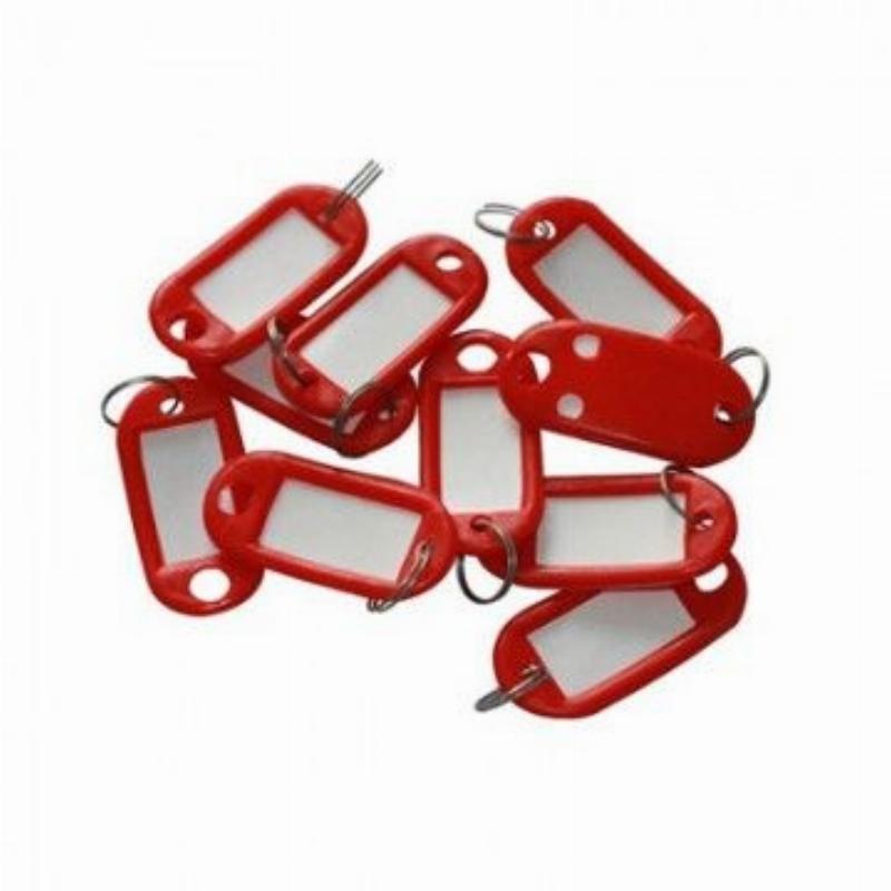 Брелок для ключей 50мм красный инфо-окно 26х16мм к-т 10 шт/уп