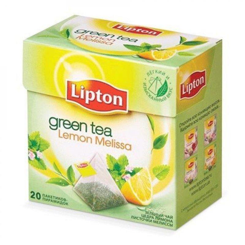 Чай Lipton Green Lemon Melissa 20шт в пирамидках зеленый