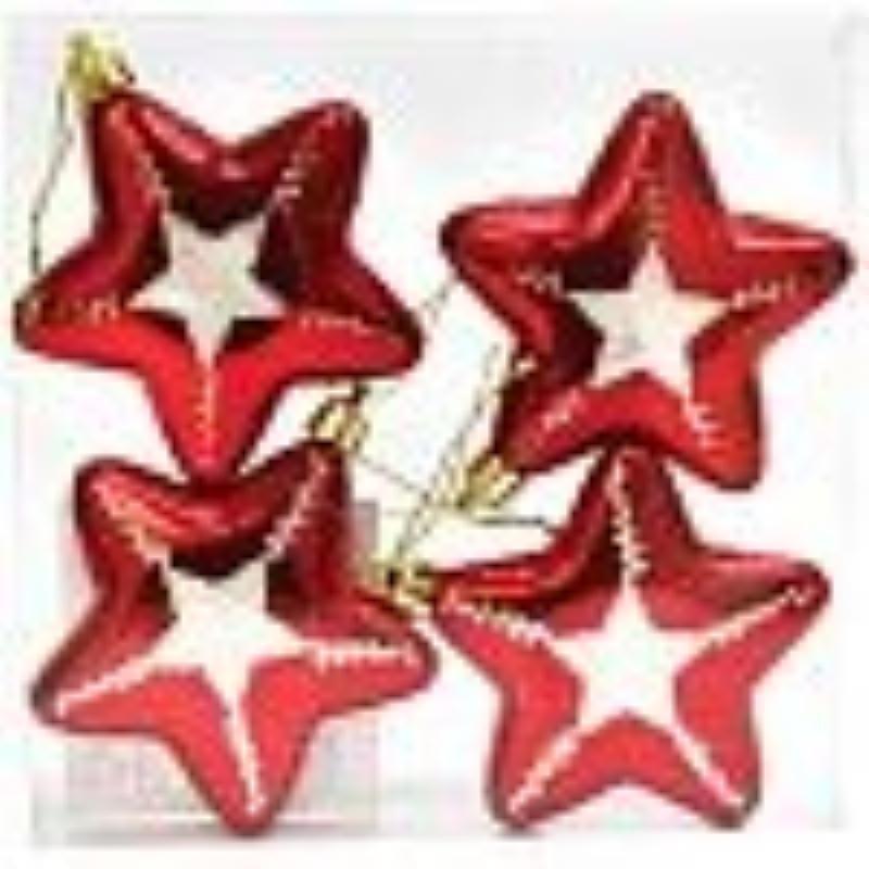 Набор украшений 4шт Звезды красный