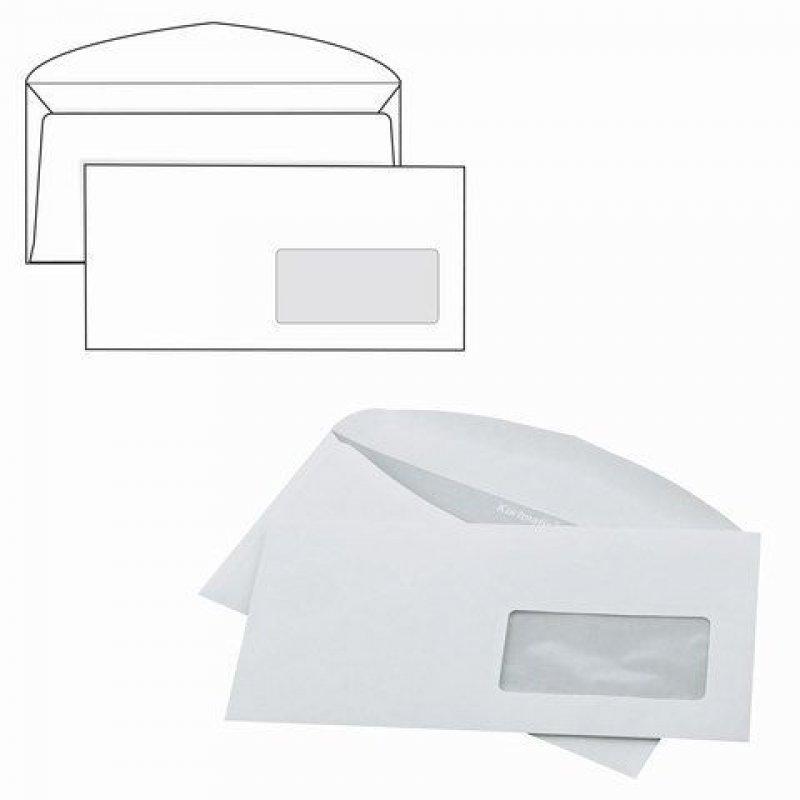 Конверт С65 (Евро 114х229мм) правое окно белый декстрин