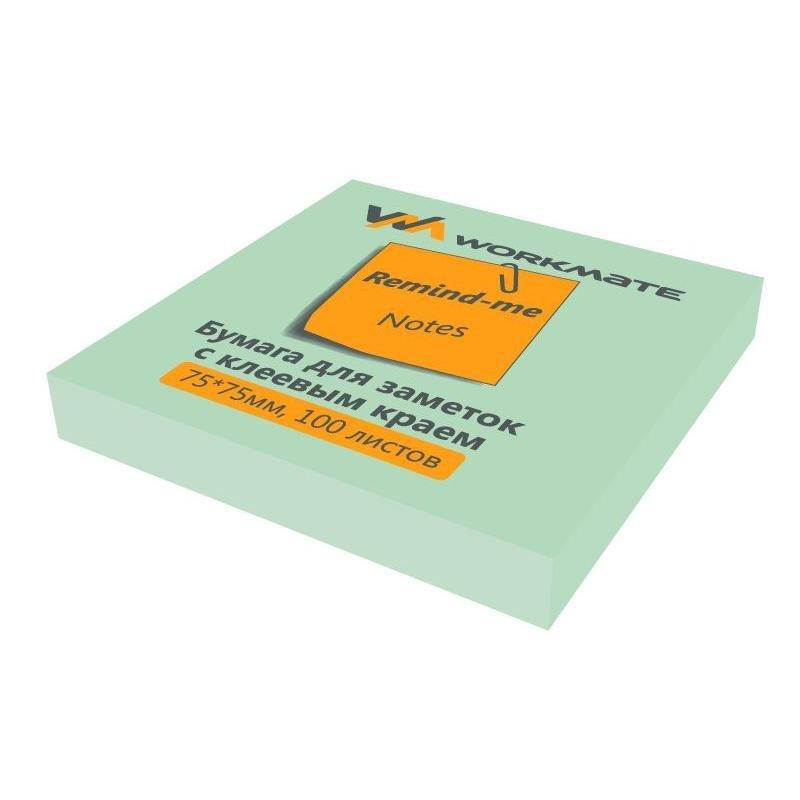 Блок для записей самоклеящийся 75х75мм Workmate 100л пастель зеленый