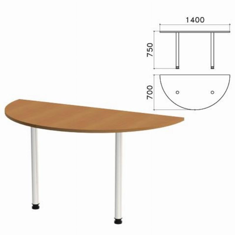 Стол приставной полукруг Монолит 1400х700х750мм орех гварнери