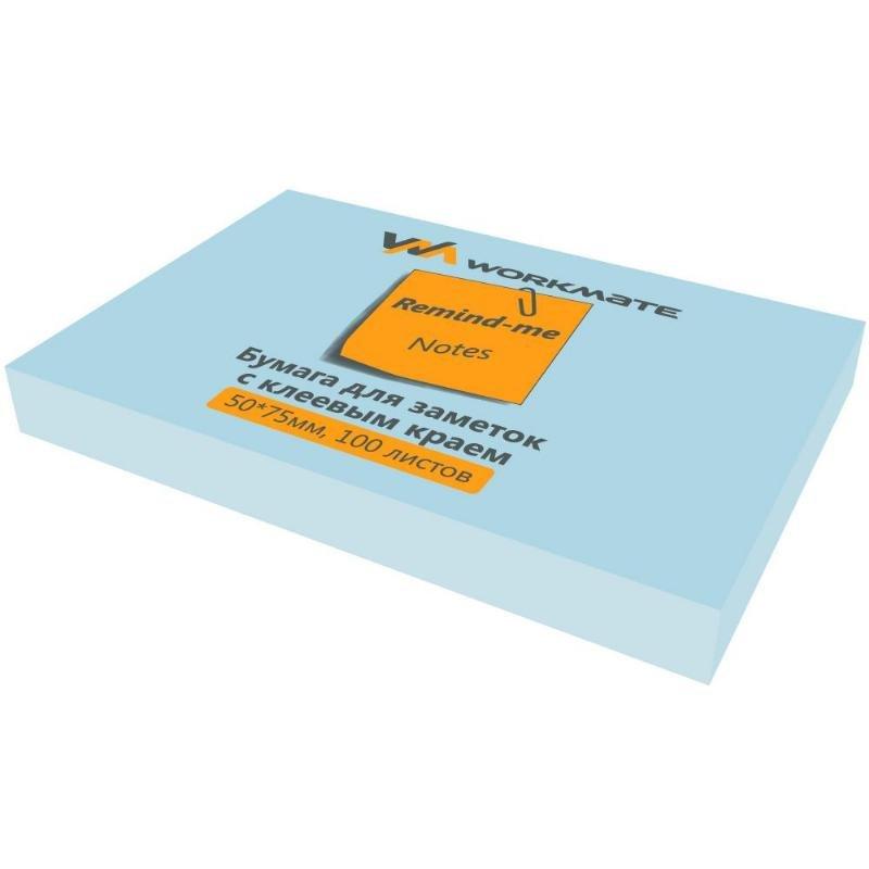 Блок для записей самоклеящийся 76х51мм Workmate 100л пастель голубой