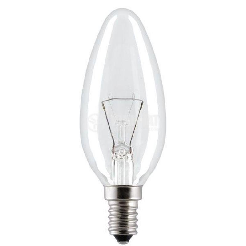 Лампа накаливания 40Вт E14 свеча прозрачная