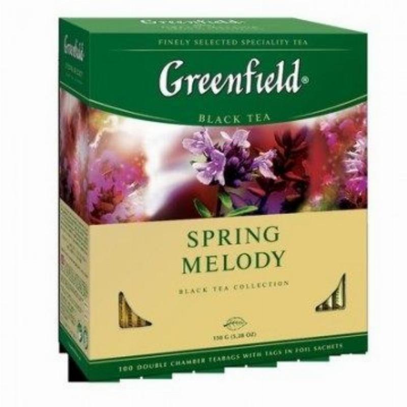 Чай Greenfield Spring Melody 100шт в пакетиках черный со вкусом чабреца