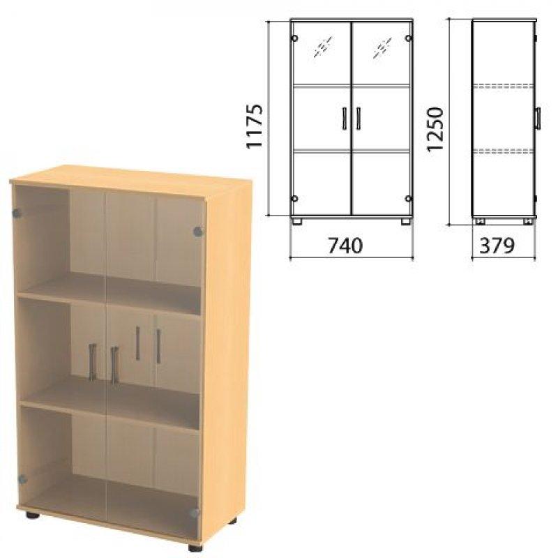 Шкаф закрытый Монолит 740х390х1250мм со стеклом бук