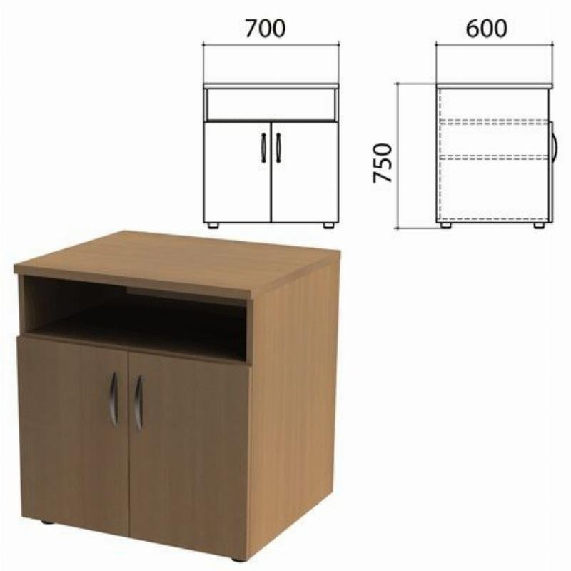 Тумба для оргтехники Этюд 700х600х750 мм 2 двери  полка дуб онтарио