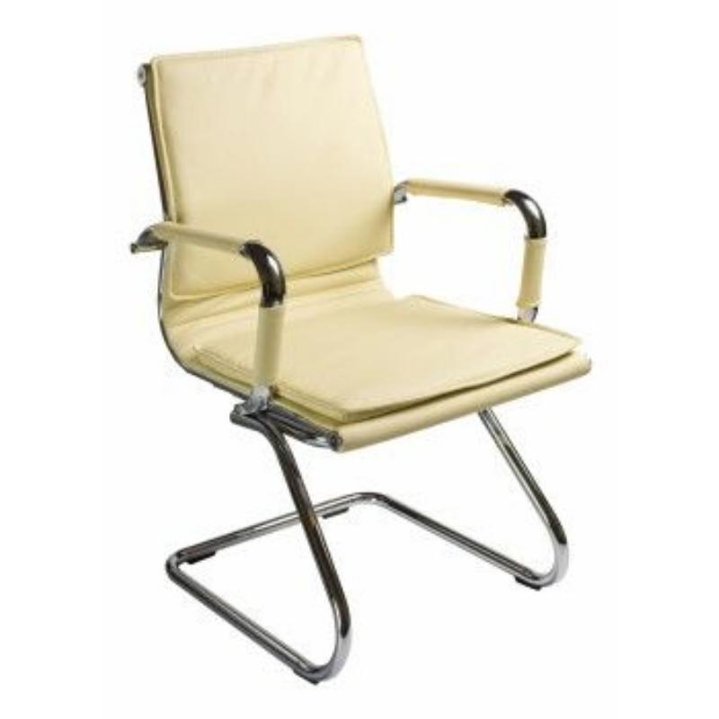 Кресло для приемных и переговорных Бюрократ Ch-993-Low-V с подлокотниками кожа слоновая кость