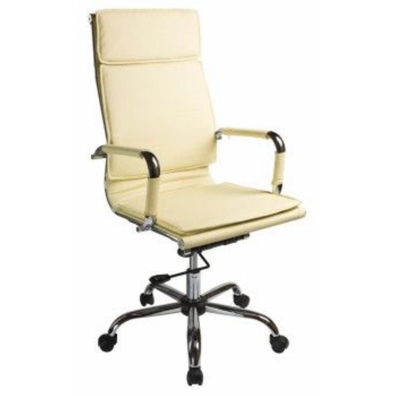 Кресло руководителя Бюрократ CH-993 подлокотниками кожа слоновая кость