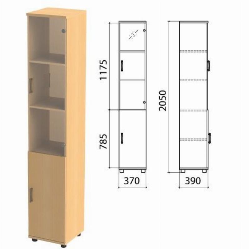 Шкаф закрытый Монолит 370х390х2050мм со стеклом комплект бук