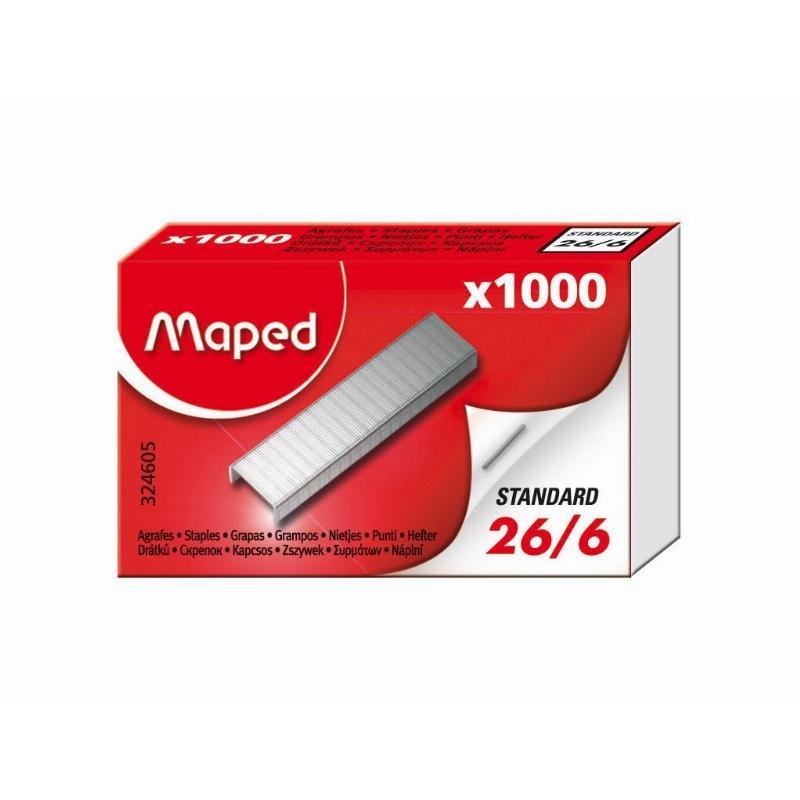 Скобы для степлера №26/6 Maped 1000шт/уп никелированные до 30 листов