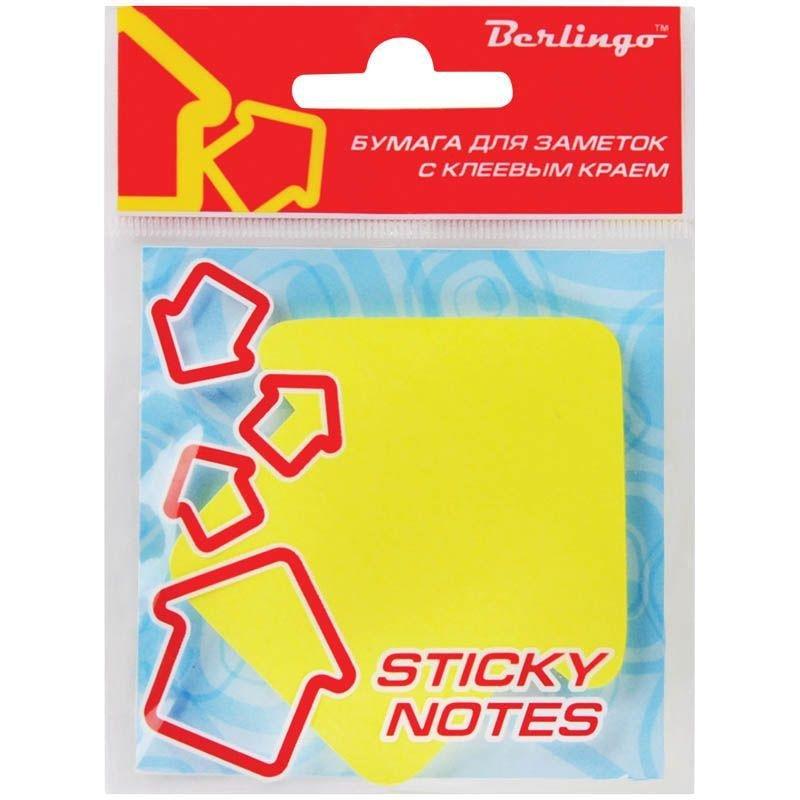 Блок для записей самоклеящийся фигурный 70х70мм Berlingo 50л неон желтый Стрелка