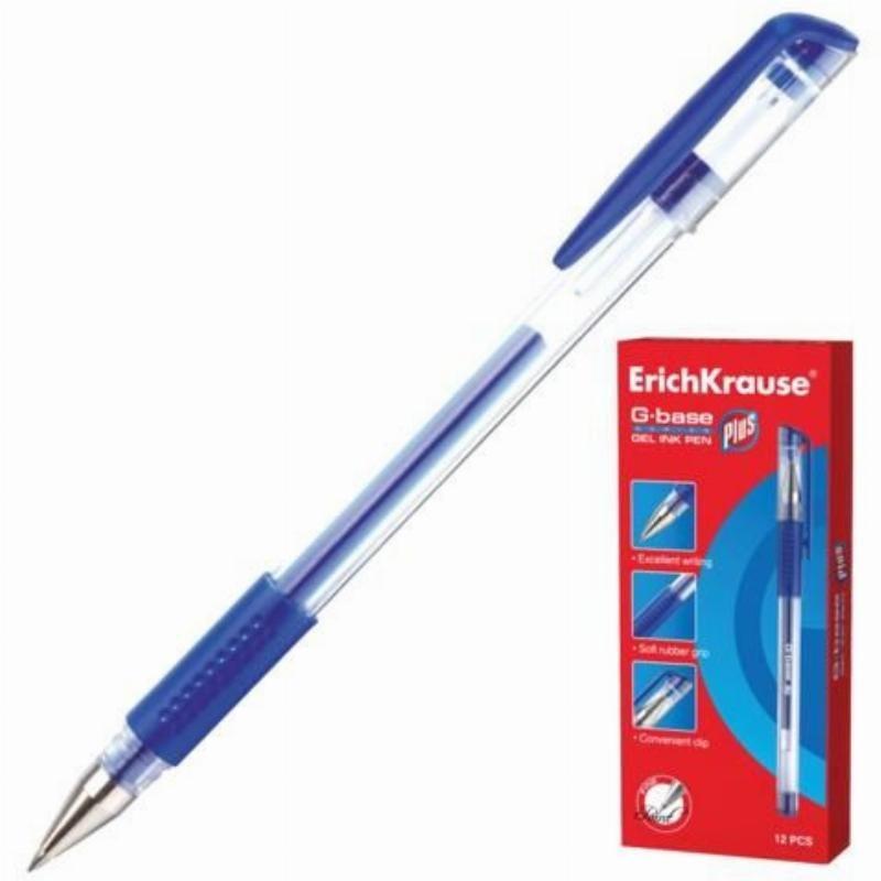 Ручка гелевая Erich Krause G-Base plus 0,5мм резиновый держатель игольчатый наконечник синяя