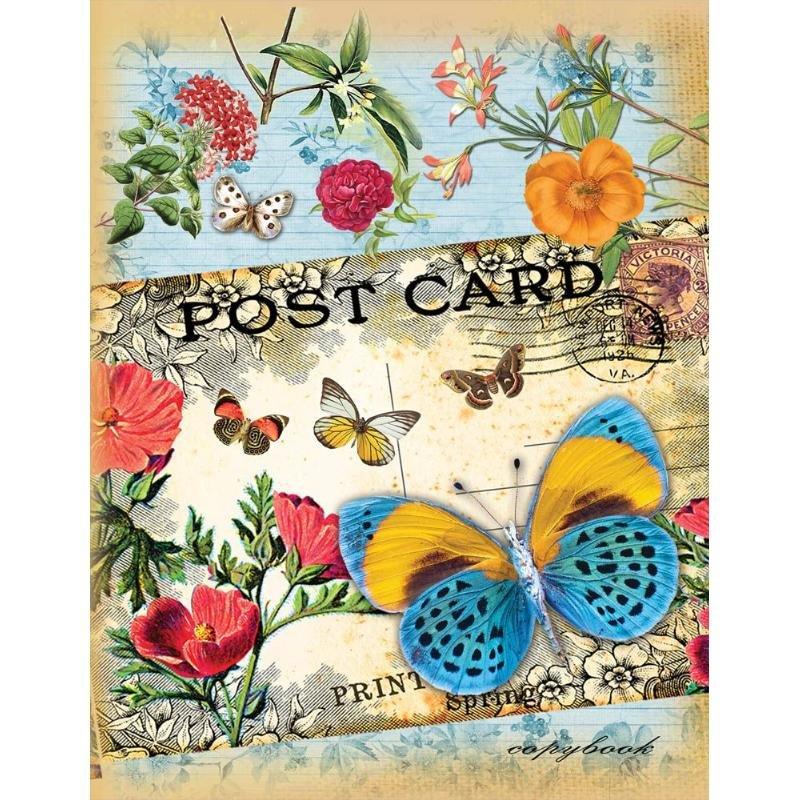 Тетрадь на кольцах со сменным блоком 80л А5 Бабочка и открытка