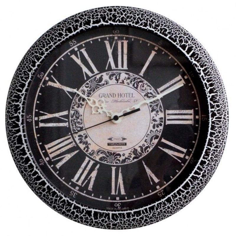 Часы настенные В-Тройка 11174108 круг черные 290мм