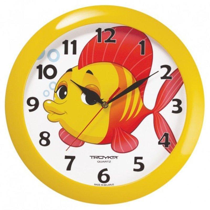 Часы настенные В-Тройка 11150104 круг белые рыбка 290мм