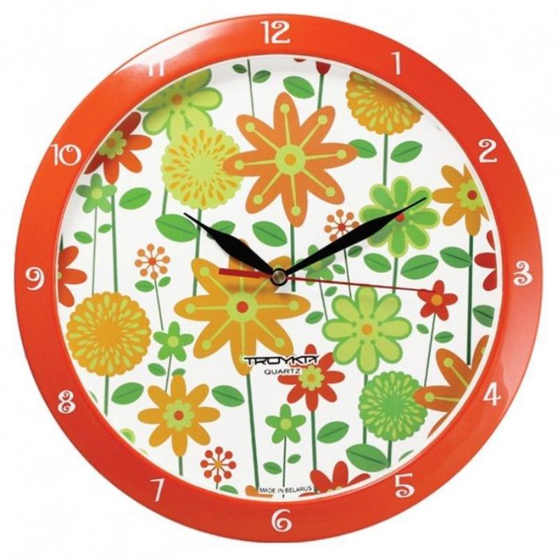 Часы настенные В-Тройка 11151120 круг цветы 290мм
