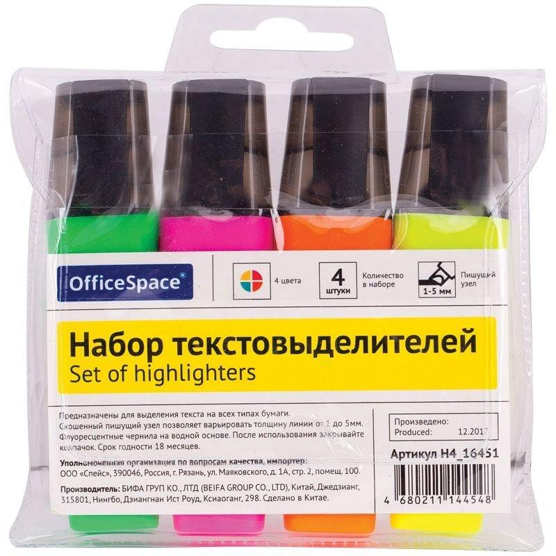 Набор текстмаркеров OfficeSpace 4цв 1-5мм скошенный наконечник европодвес