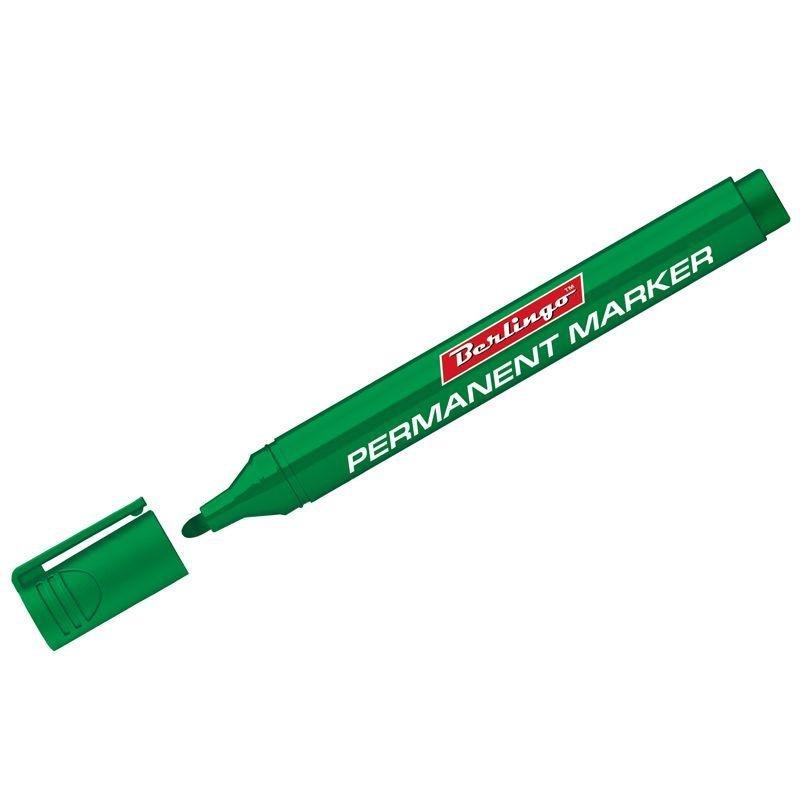 Маркер перманентный Berlingo 3мм пулевидный наконечник зеленый