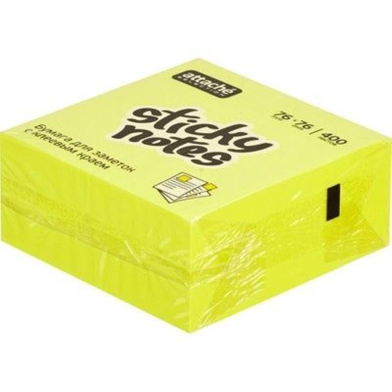 Блок для записей самоклеящийся 76х76мм Attache Selection 400л неон желтый