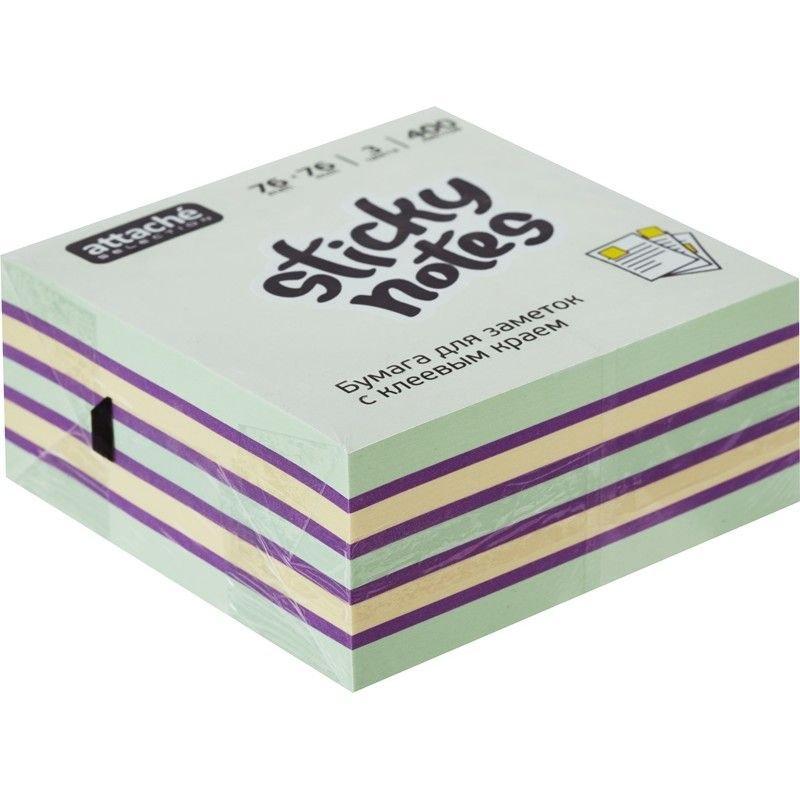 Блок для записей самоклеящийся 76х76мм Attache Selection 400л пастель 3 цвета