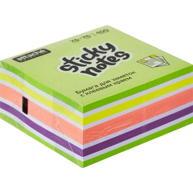 Блок для записей самоклеящийся 76х76мм Attache Selection 400л неон-пастель 5 цветов фреш