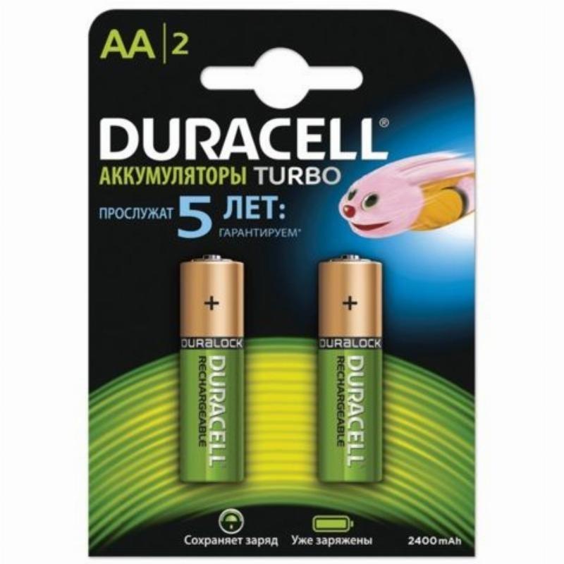 Аккумуляторная батарея Duracell AA HR06 2400мАч 2шт/уп